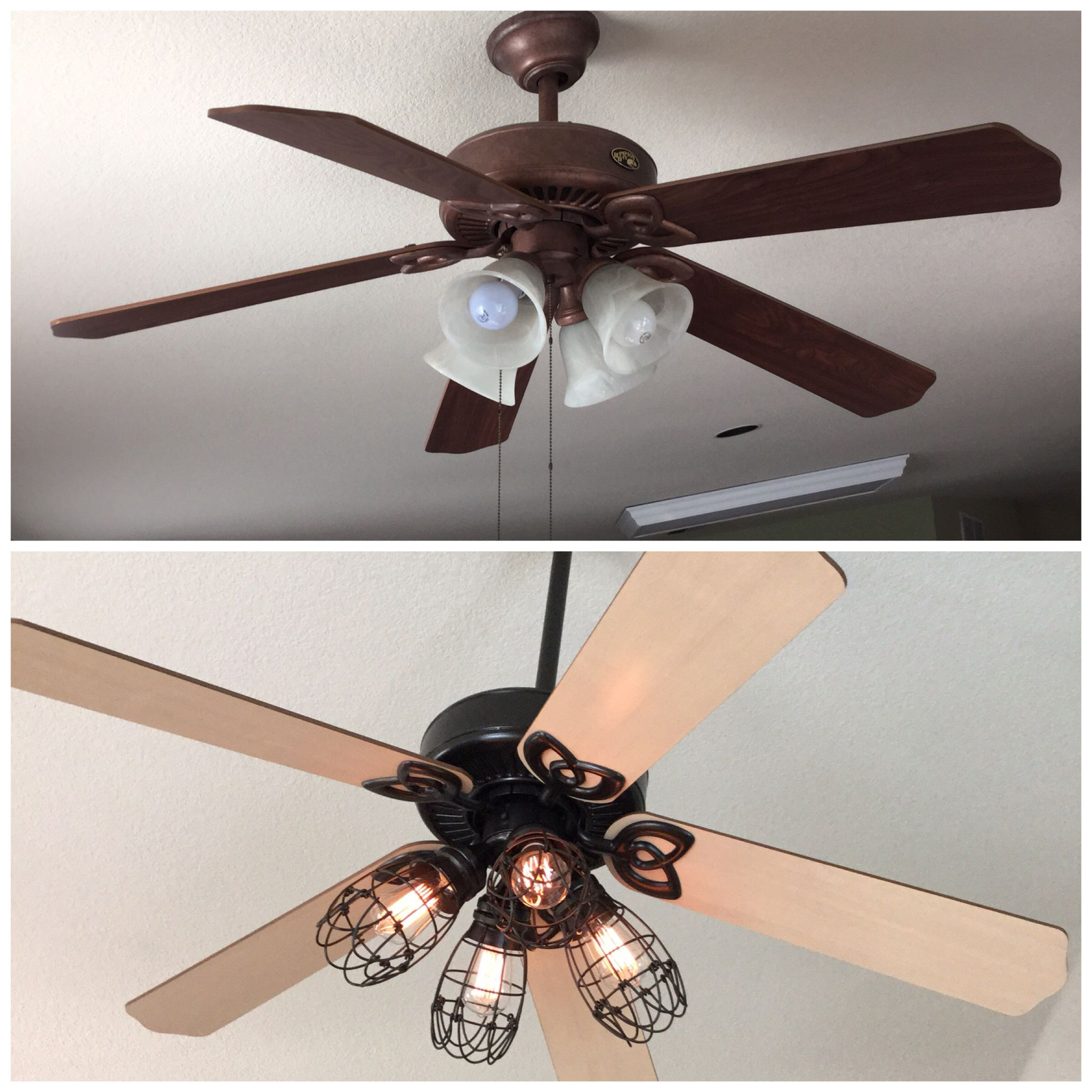 DIY ceiling fan makeover: Add cage bulb guards and Edison