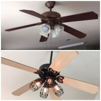 DIY ceiling fan makeover: Add cage bulb guards and Edison ...