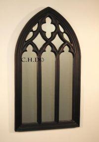 Black Gothic arched church window mirror shabby chic