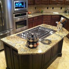 Kitchen Island With Cooktop Faucet Handspray Gas Gibson