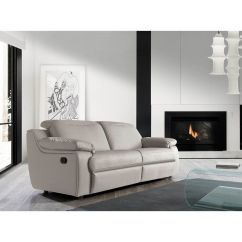 Living Room Furniture Leather And Upholstery Area Rug Layout 3 Seaters Reclining Sofa Grey Genuine
