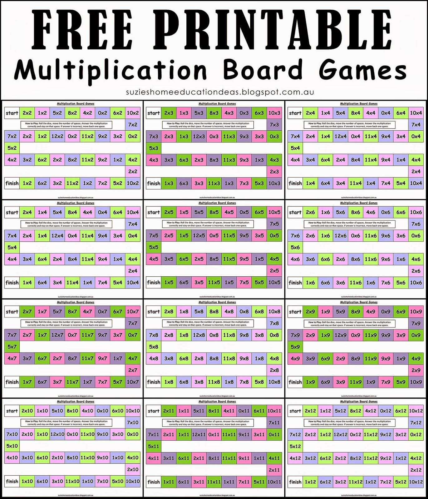 Free Multiplication Board Games