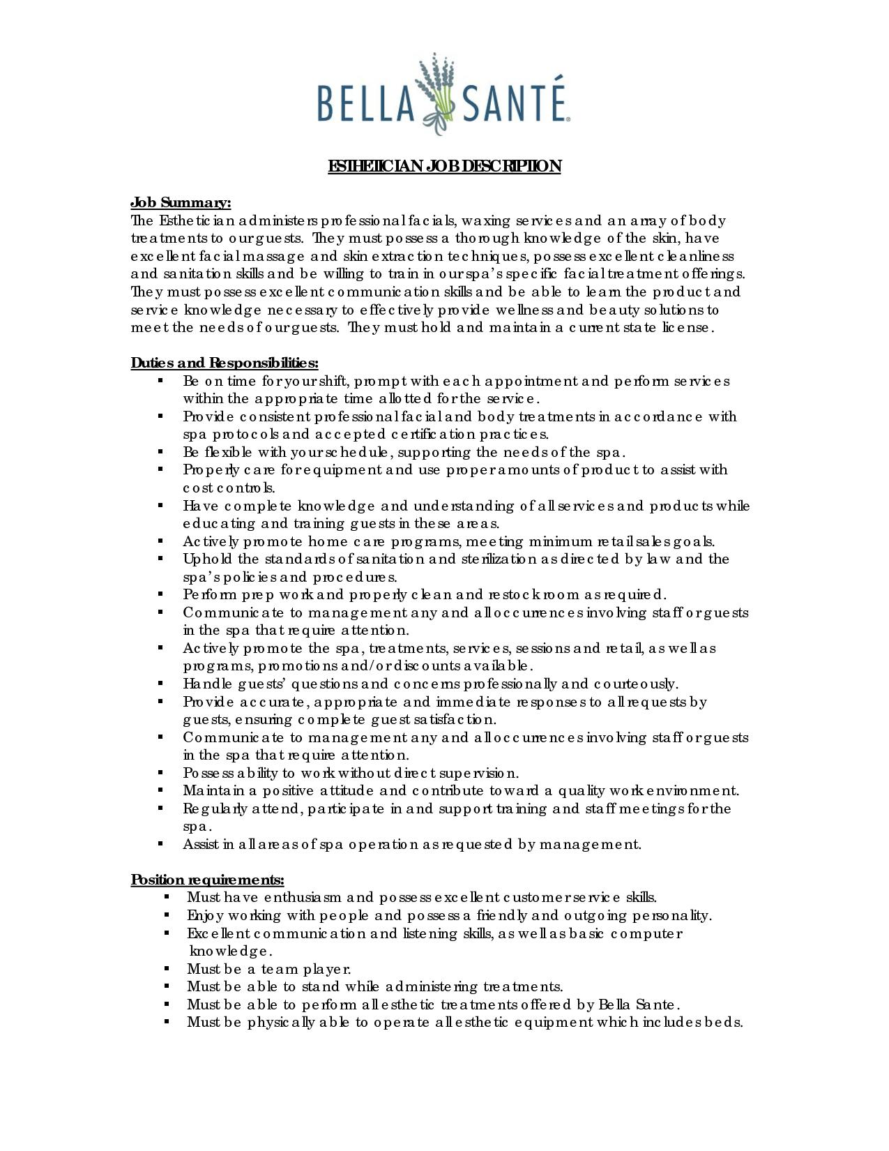 Esthetician Resume Sample Pinterest Examples  Entry Level Esthetician Resume