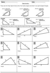 FREE Trigonometry ratio review worksheet. | Trigonometry ...