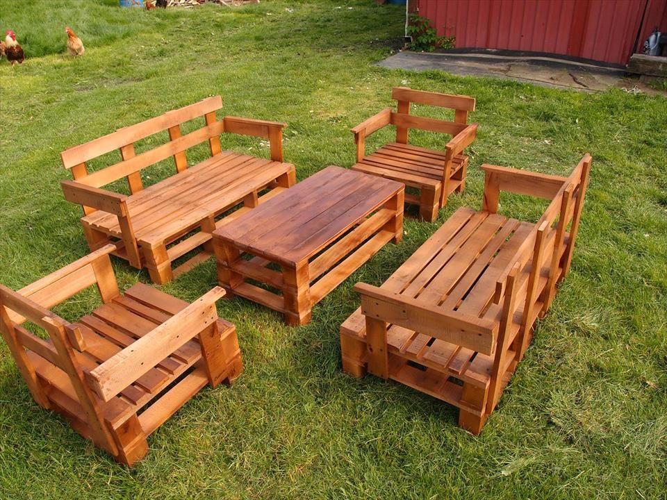 Upcycled Pallet Garden Furniture Set Pallet Furniture DIY