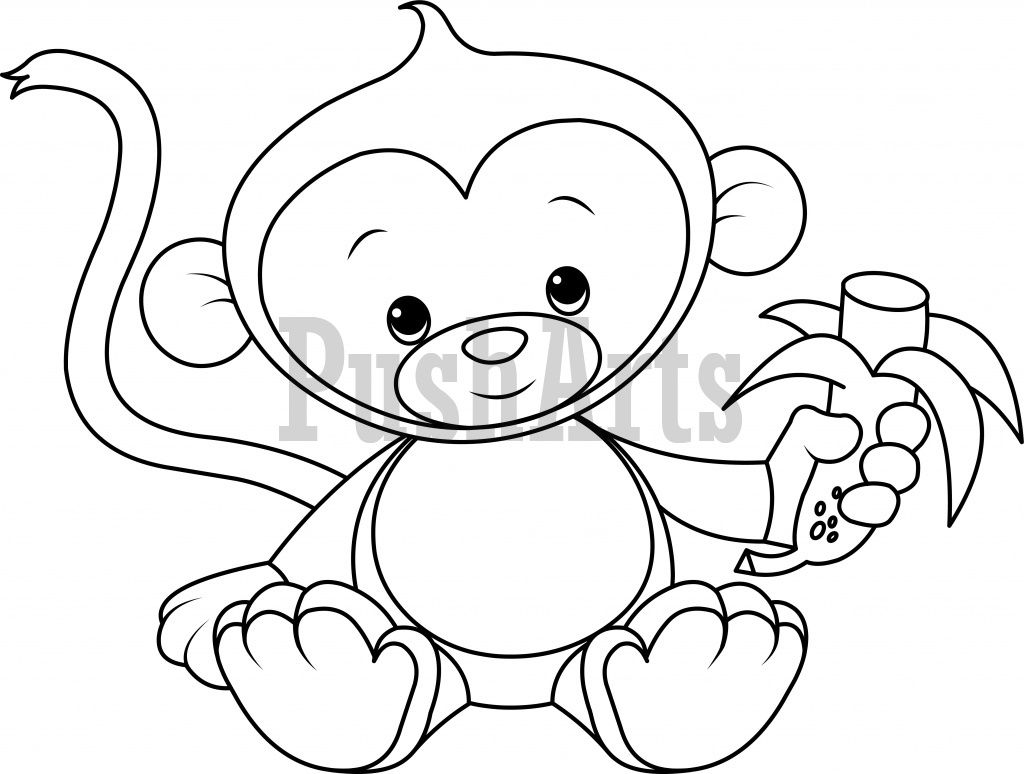 Baby Monkey Eating Banana Coloring Page Pusharts