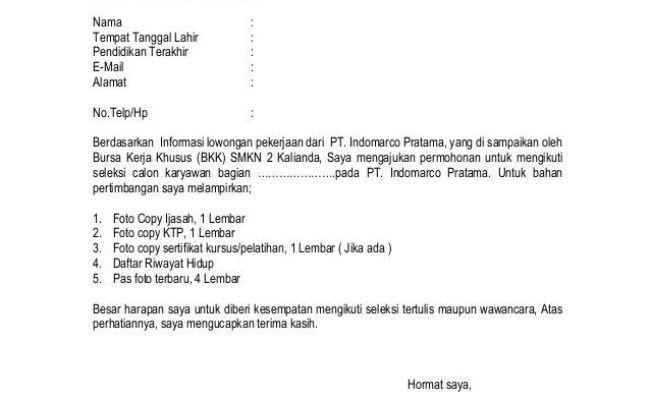 Contoh Surat Lamaran Kerja Indomaret Doc Cute766