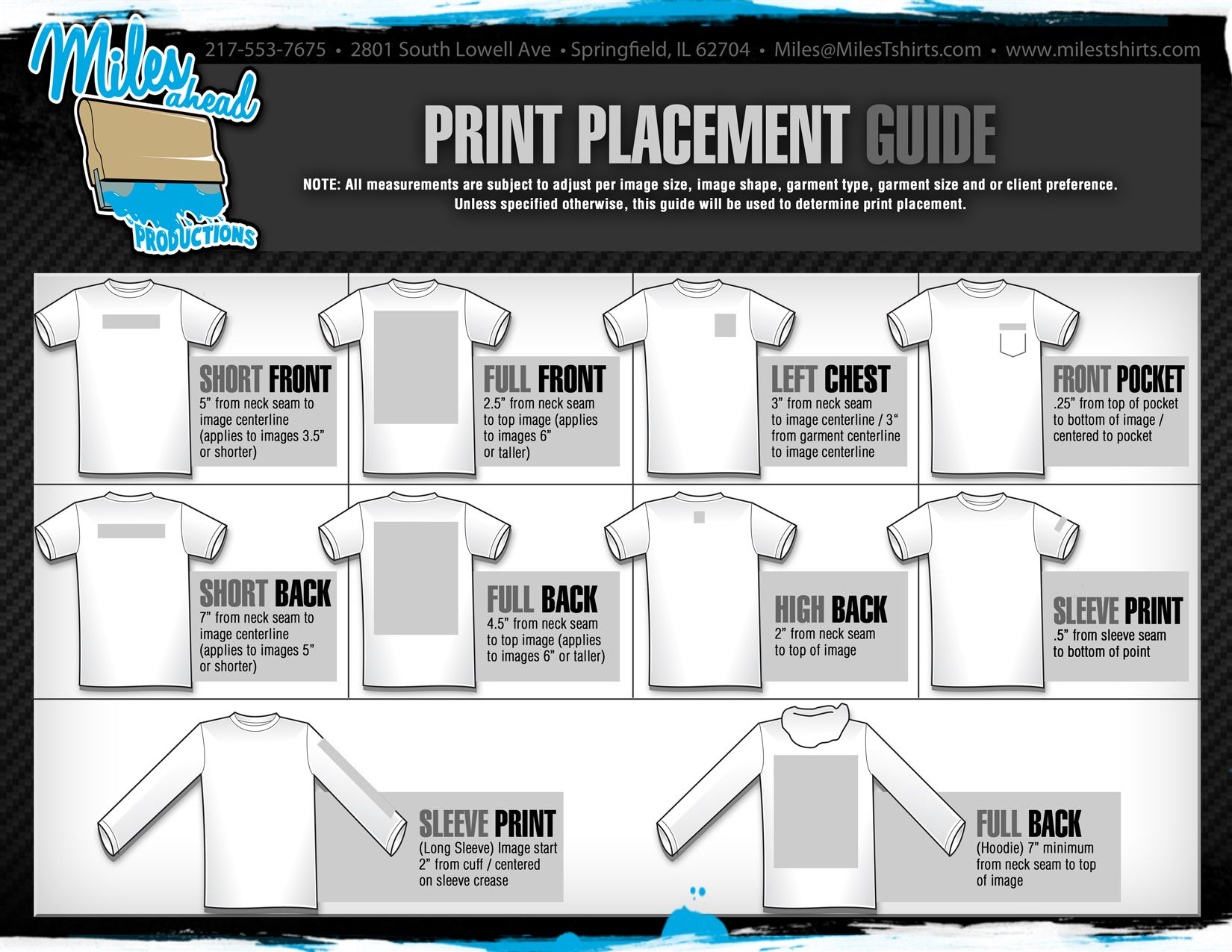 Machine Embroidery Placement Chart