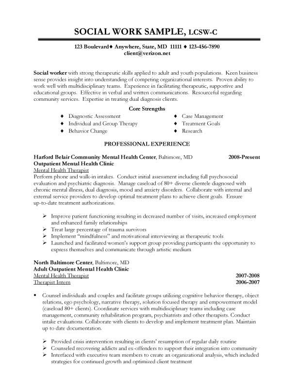 Sample Social Work Resume Examples Career Social Worker