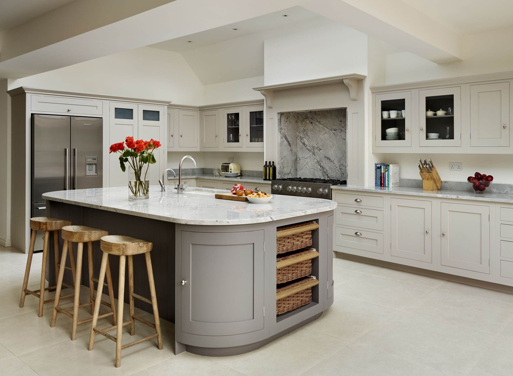 french kitchen island under sink organizer harvey jones shaker with curved cupboards painted