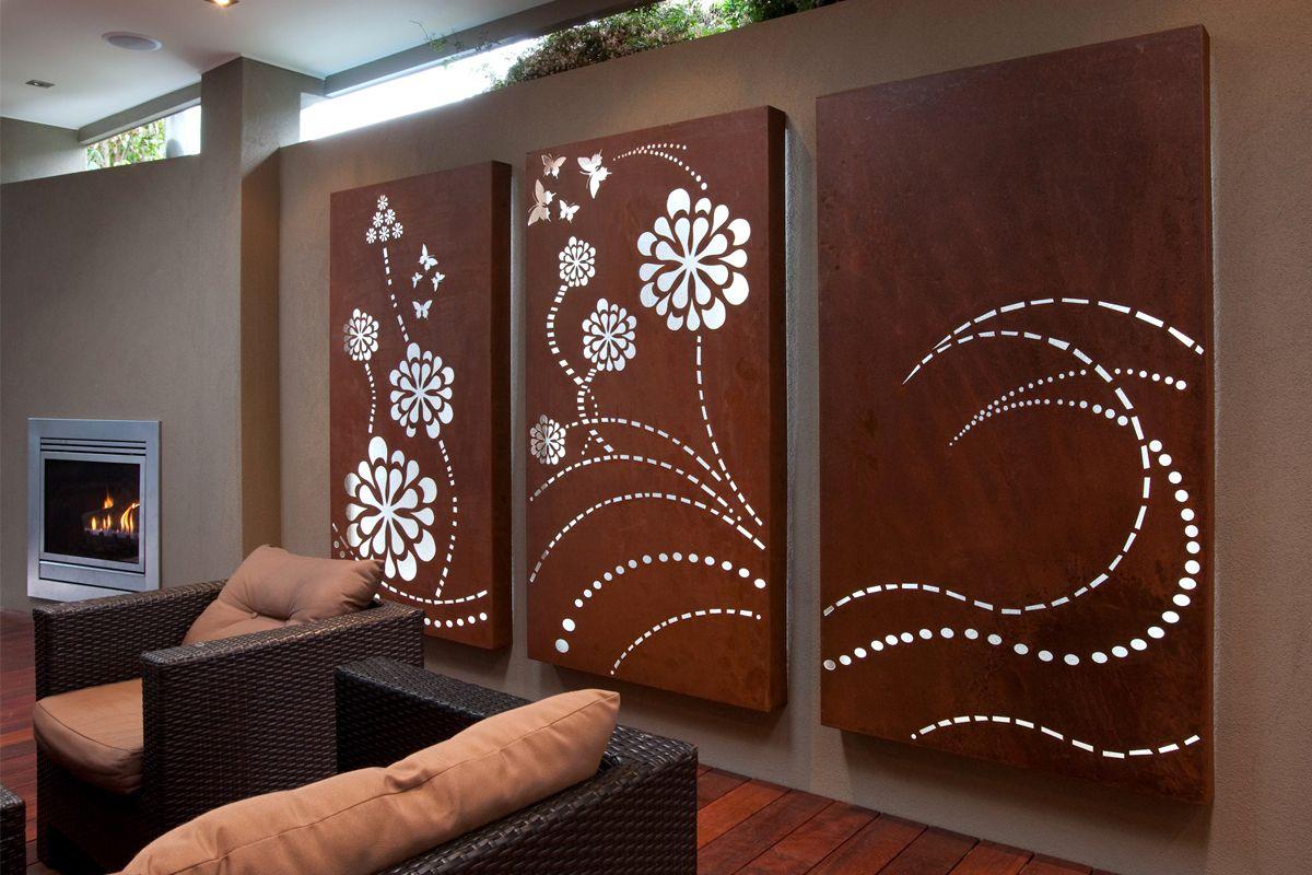 'Flower Wave' light box triptych, laser cut wall art for
