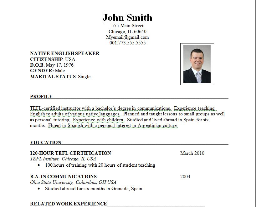 example of resume for abroad - Resume Format Examples For Job