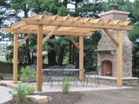 Pergola with attached fireplace | Outdoor Home | Pinterest ...