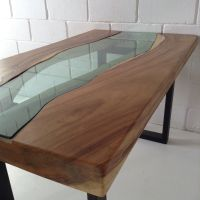 Live edge Acacia wood dining table with glass river centre ...