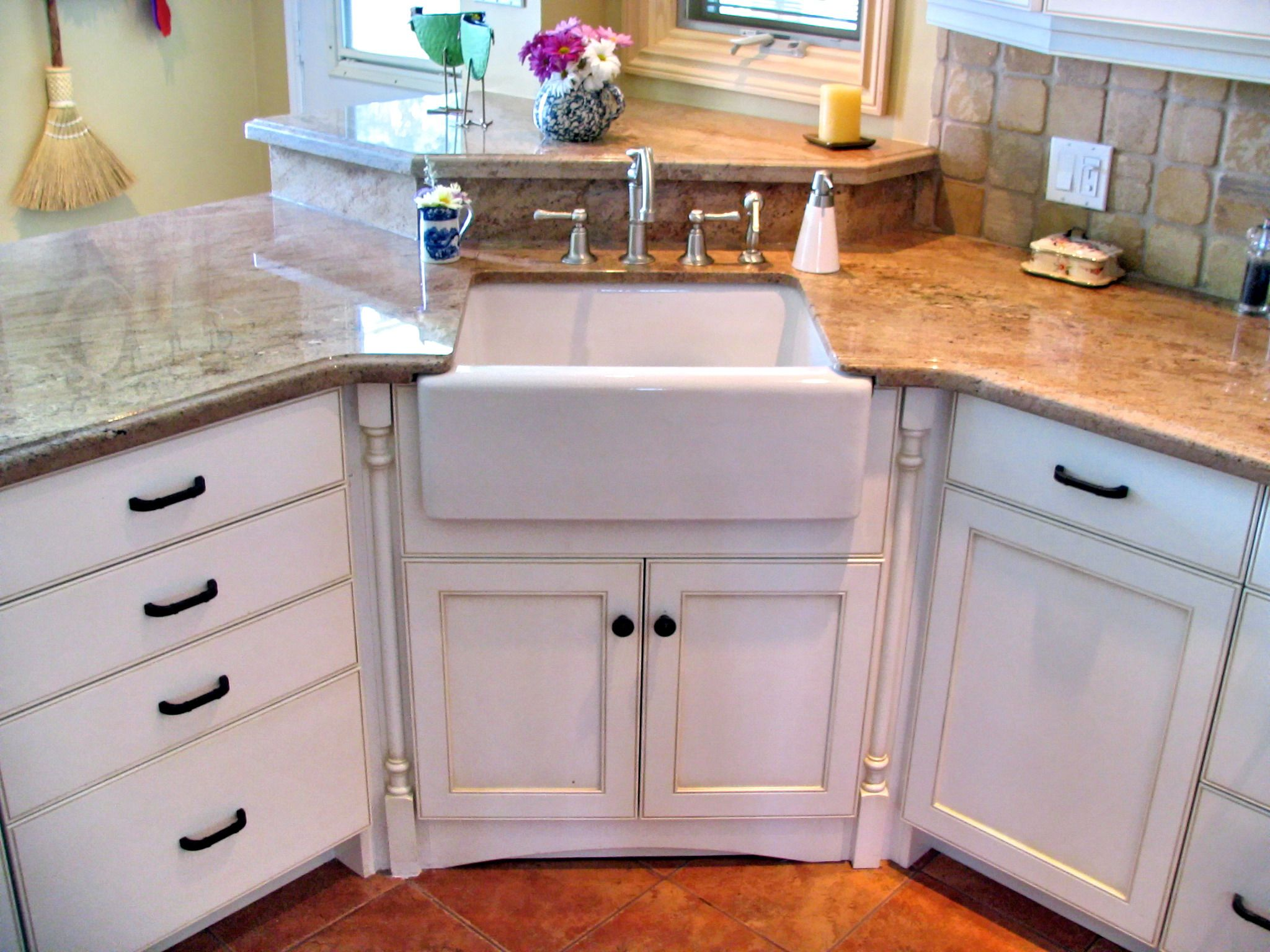 corner kitchen sink cabinet home and stores undermounted apron flanked by decorative