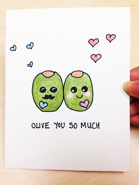 Olive You So Much Funny And Cute Love Card For Boyfriend