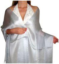 Pretty Silver Chiffon Silk Scarf Shawl Wrap perfect ...