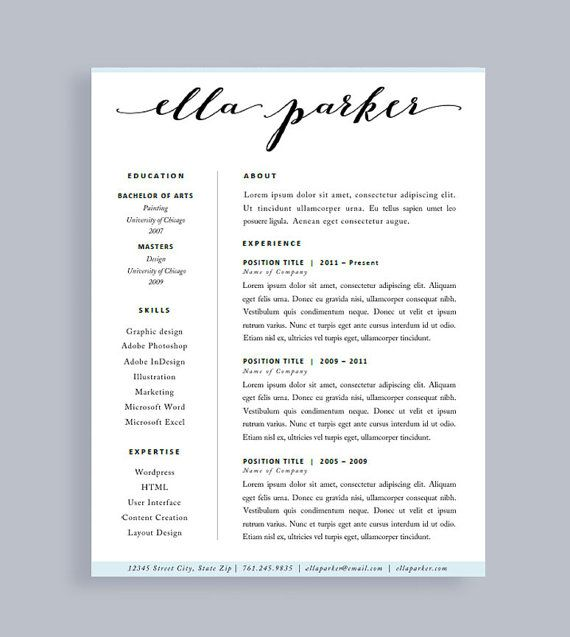 Resume Template  Made To Order Header  Instant Download