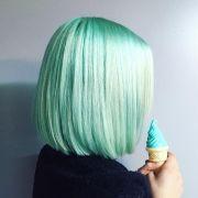 pastel mint green stick-straight