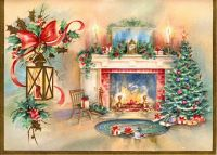 Vintage Christmas Card - Fireplace Scene with Tree ...