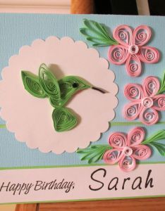Quilled birthday card with personalized poem inside also quilling rh pinterest