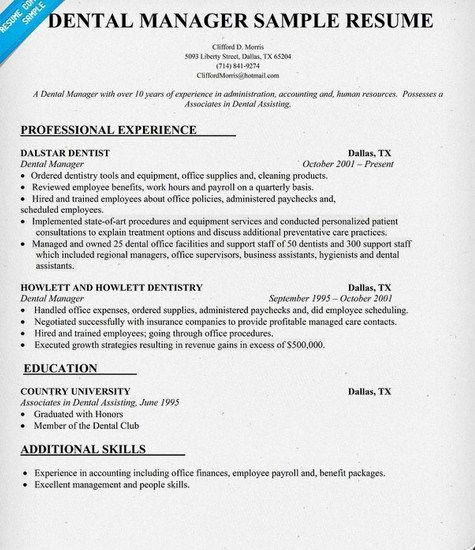 Dental Office Manager Resume Sample