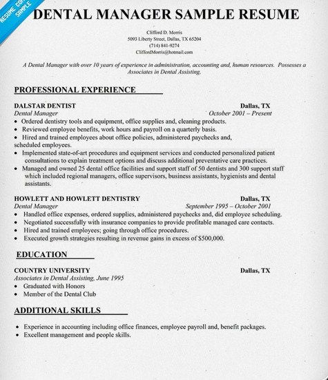 Dental Office Manager Resume Sample http