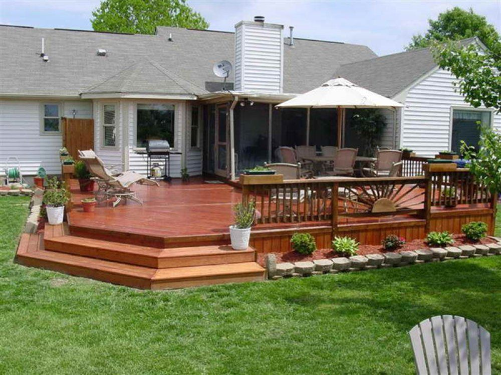 Diy Step Up 2 Level Patio Deck Here's A Lovely Wooden Deck