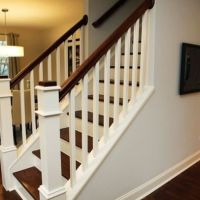 Lorna - 1950's Cape Cod, stairs/railings mix of dark wood ...