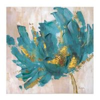 Turquoise and Gold Flower Canvas Art Print | Flower canvas ...