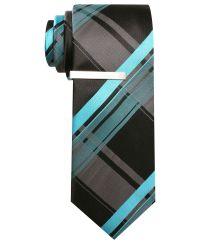 Alfani RED Tie, Cabezas Grid Skinny Tie with Tie Bar ...