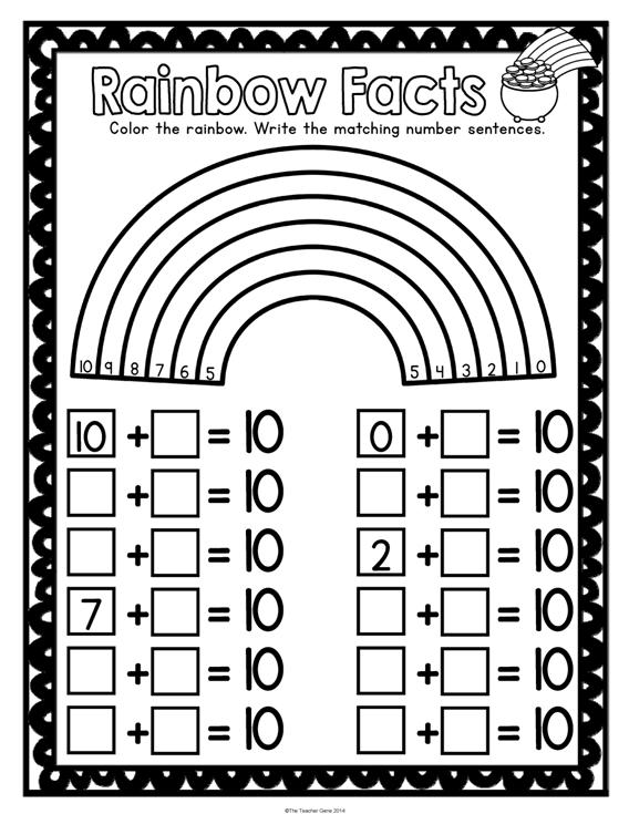 St Patrick's Day Kindergarten Math Activities Pack (Print