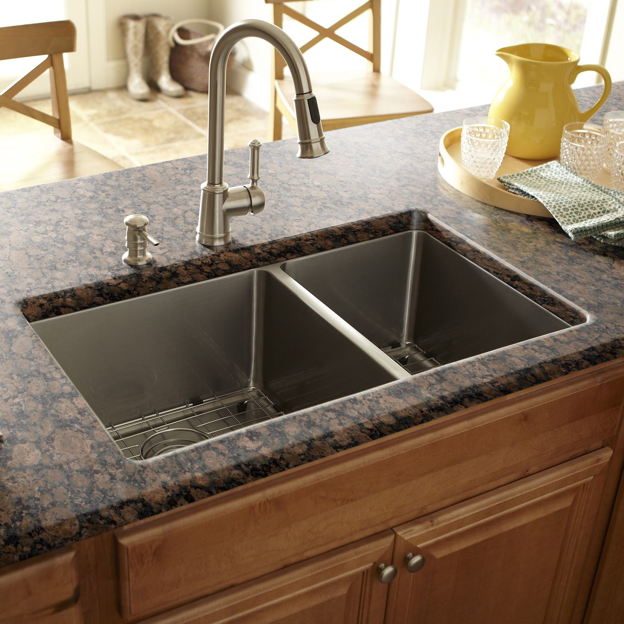 double bowl kitchen sink small with dining table schon 17 quot x 30 design