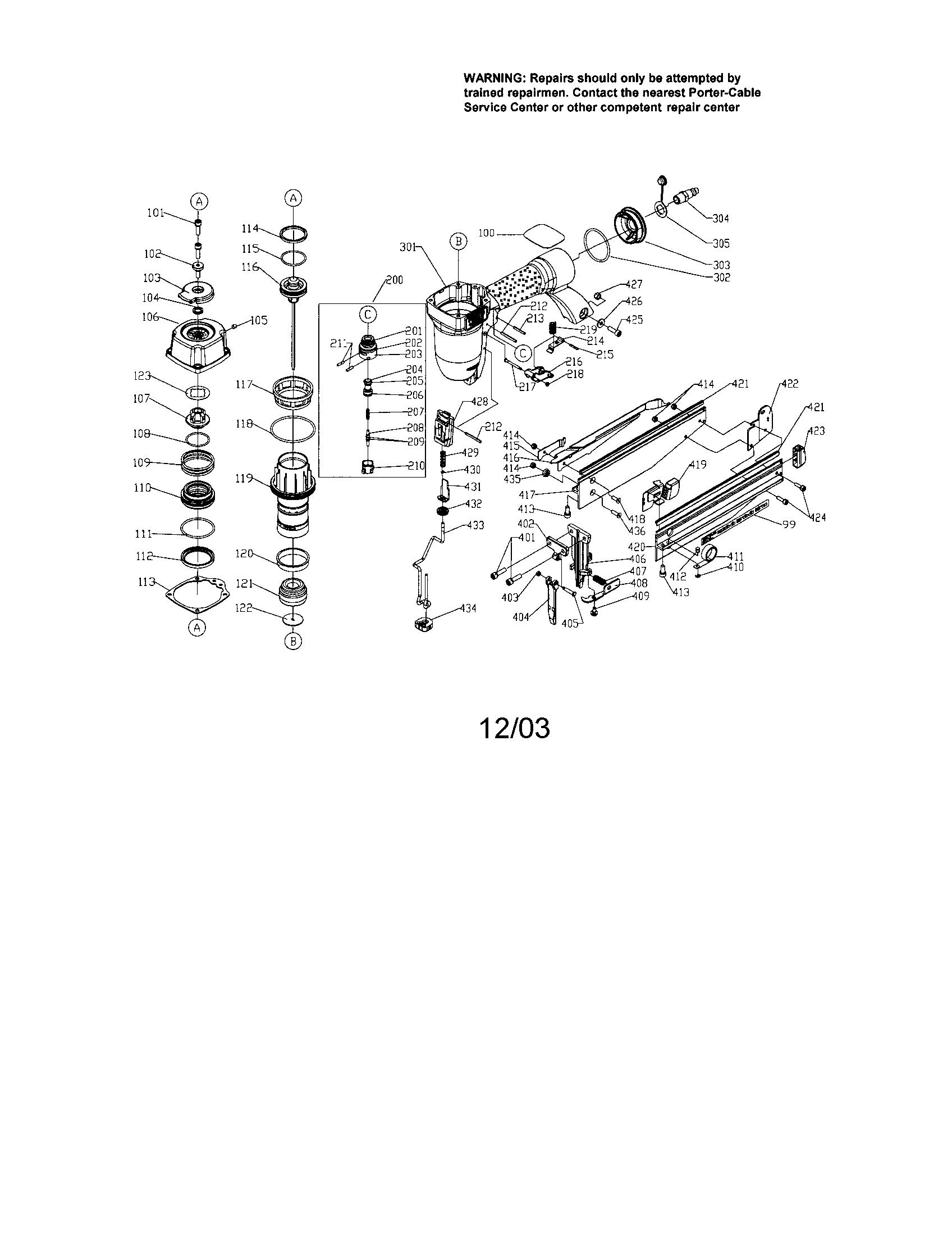 FINISH NAILER Diagram & Parts List for Model fn250b Porter