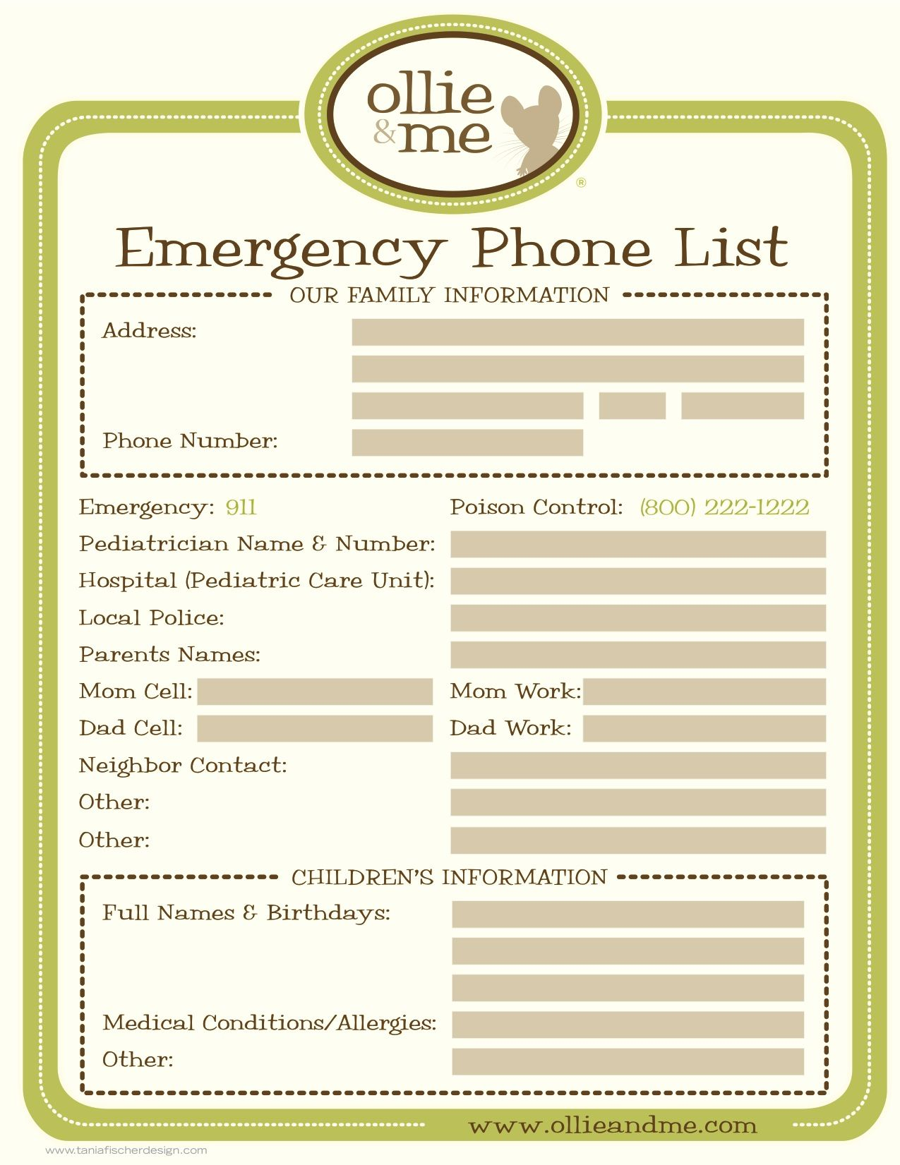 Emergency Phone List For Your Babysitter