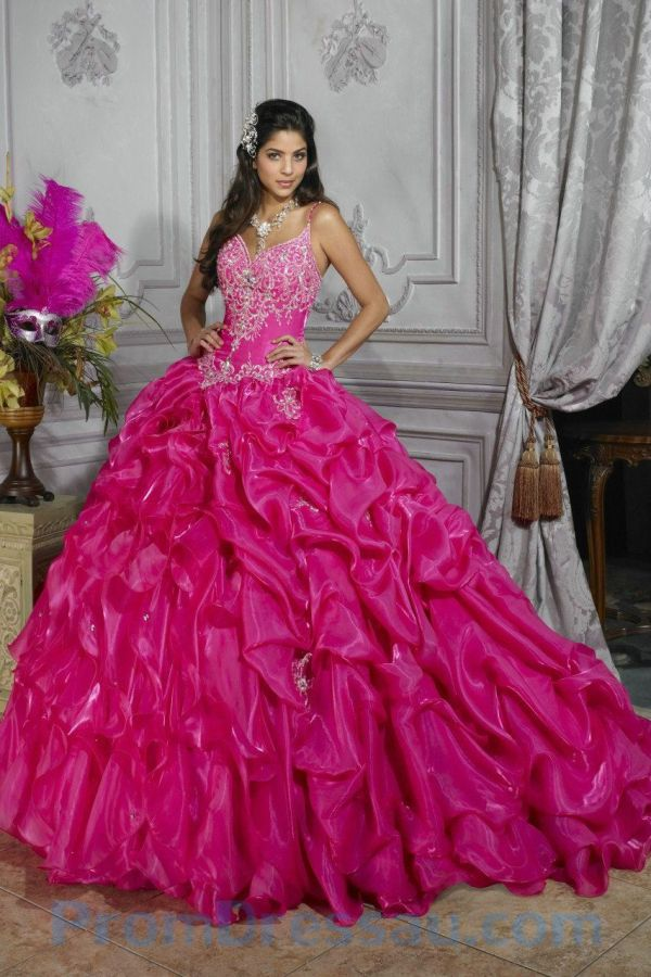 Pink Sparkly Sweet 16 Dresses Spaghetti Straps Beaded