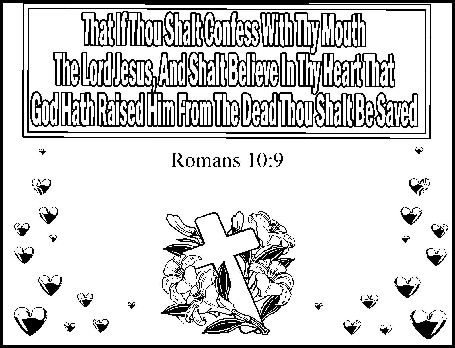 Romans 10 9 Kids Coloring Page