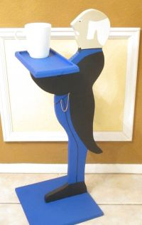 Wooden Butler Statue w/Holding Tray. Black by ...