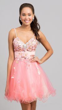 Short Light Coral Poofy Prom Dress Tulle Spaghetti Strap ...