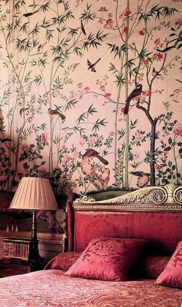 rosa wandfarben englische tapetenmuster schlafzimmer  Schlafzimmer  Pinterest  Rosa wandfarbe