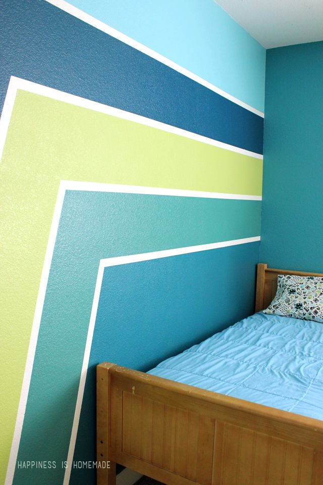 Boys Bedroom: Graphic Racing Stripes Painted Accent Wall