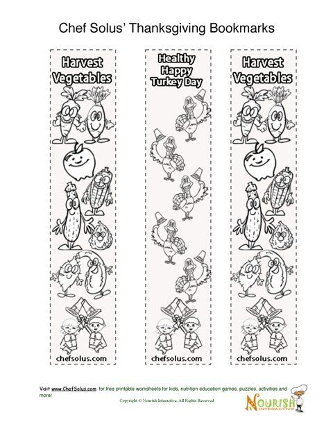 Bookmark Thanksgiving Coloring Page for Kids
