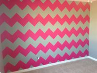 Hot pink and gray chevron wall