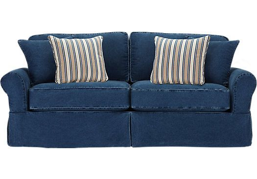cindy crawford denim sofa sleeper canape difference shop for a home beachside blue ...
