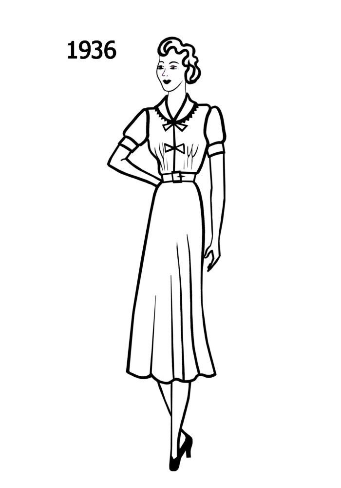 Fashion history line drawing of simple day dress 1936