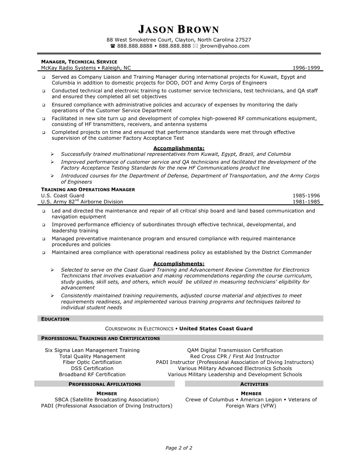 enterprise management trainee program resume