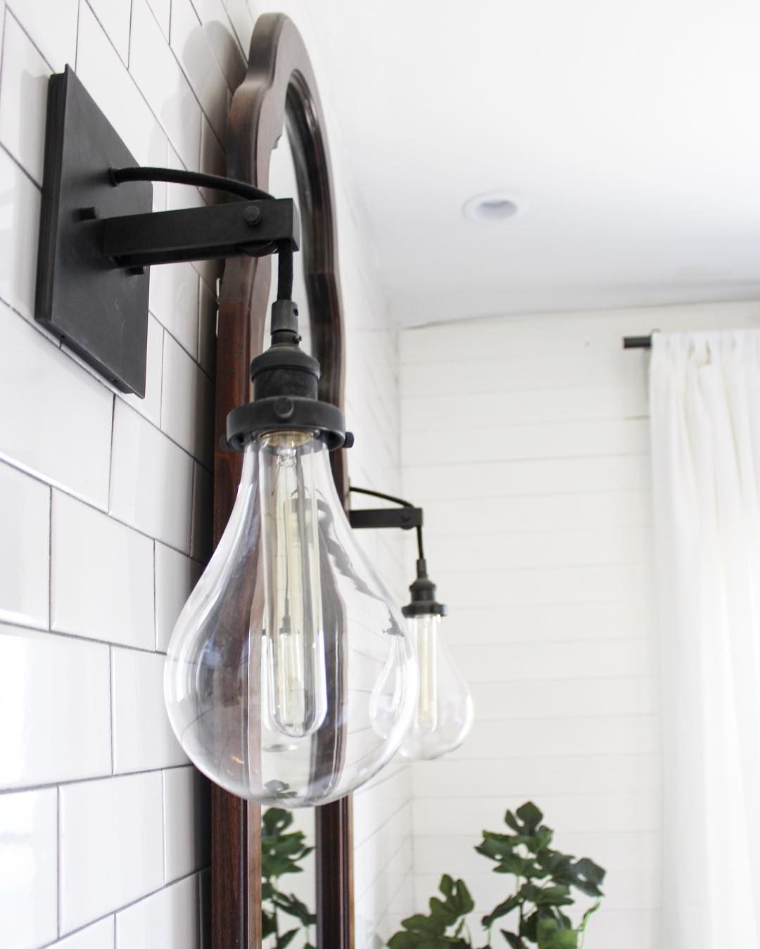 Industrial bathroom sconce  See this Instagram photo by beginninginthemiddle  Bathroom