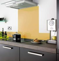 Mustard colour kitchen glass splashback | Kitchen ...