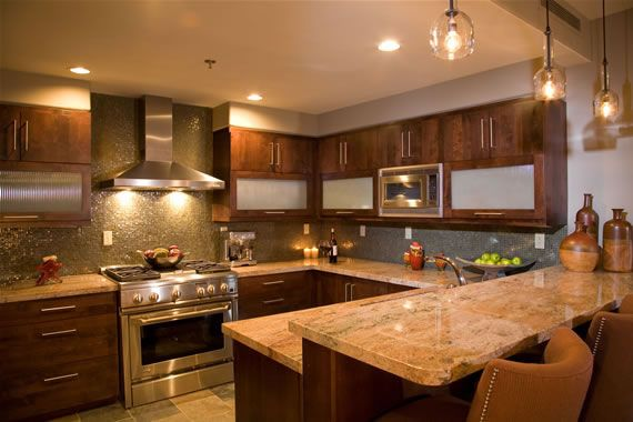 warm kitchen design Warm Kitchen w/earth tones.love the simple pendant lights | Smile inducing Kitchens