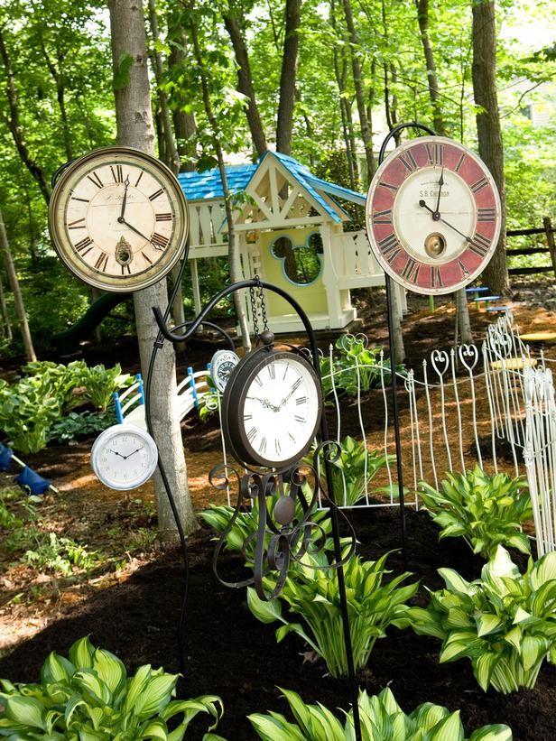 Clocks On Shepherd's Hooks For My Future Alice In Wonderland